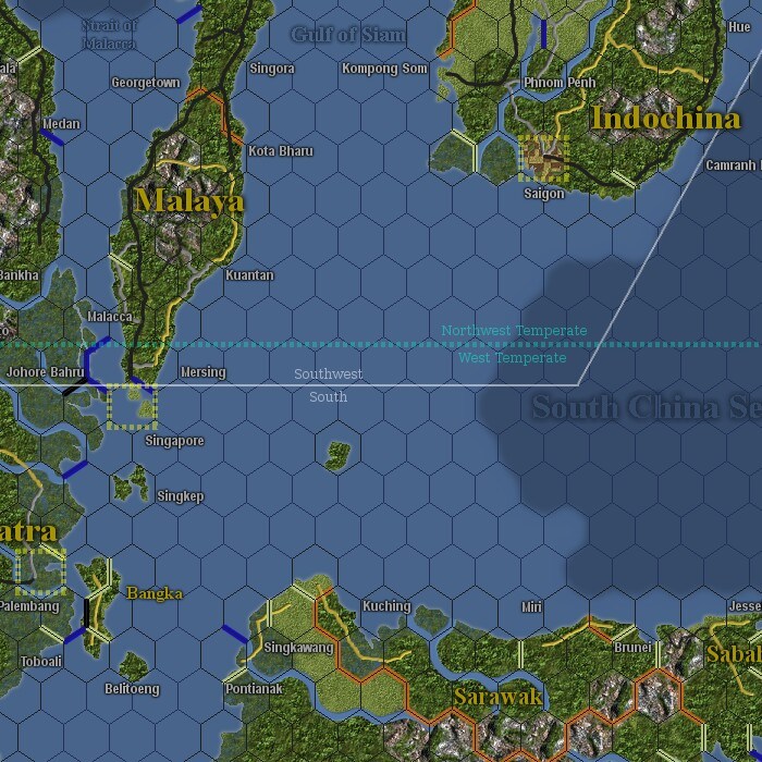 Andrew browns war in the pacific map map with light hex grid hexside indicators weather zones and control zones gumiabroncs Gallery